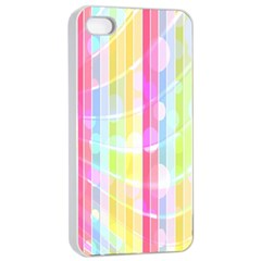 Colorful Abstract Stripes Circles And Waves Wallpaper Background Apple Iphone 4/4s Seamless Case (white)