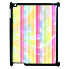 Colorful Abstract Stripes Circles And Waves Wallpaper Background Apple Ipad 2 Case (black)