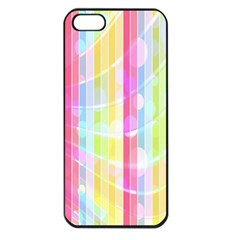 Colorful Abstract Stripes Circles And Waves Wallpaper Background Apple Iphone 5 Seamless Case (black)