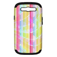 Colorful Abstract Stripes Circles And Waves Wallpaper Background Samsung Galaxy S Iii Hardshell Case (pc+silicone)