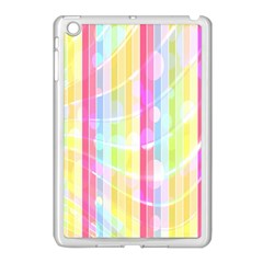 Colorful Abstract Stripes Circles And Waves Wallpaper Background Apple Ipad Mini Case (white)