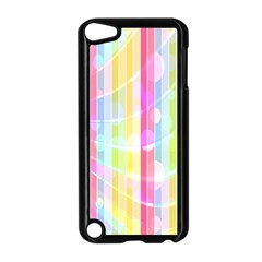Colorful Abstract Stripes Circles And Waves Wallpaper Background Apple Ipod Touch 5 Case (black)