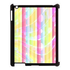 Colorful Abstract Stripes Circles And Waves Wallpaper Background Apple Ipad 3/4 Case (black)