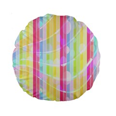 Colorful Abstract Stripes Circles And Waves Wallpaper Background Standard 15  Premium Round Cushions