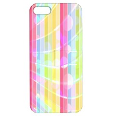 Colorful Abstract Stripes Circles And Waves Wallpaper Background Apple iPhone 5 Hardshell Case with Stand