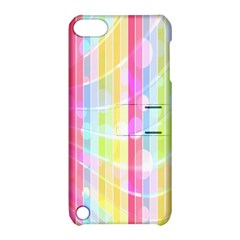 Colorful Abstract Stripes Circles And Waves Wallpaper Background Apple iPod Touch 5 Hardshell Case with Stand