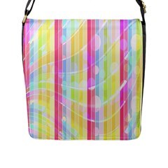 Colorful Abstract Stripes Circles And Waves Wallpaper Background Flap Messenger Bag (l)