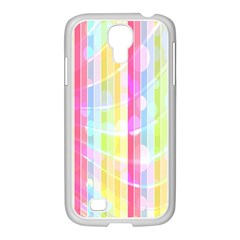 Colorful Abstract Stripes Circles And Waves Wallpaper Background Samsung GALAXY S4 I9500/ I9505 Case (White)