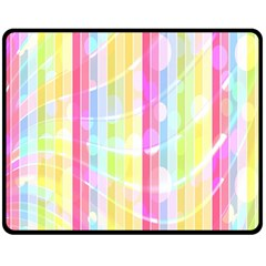 Colorful Abstract Stripes Circles And Waves Wallpaper Background Double Sided Fleece Blanket (medium)
