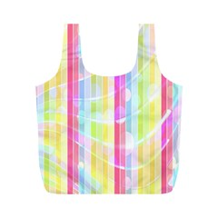 Colorful Abstract Stripes Circles And Waves Wallpaper Background Full Print Recycle Bags (m)