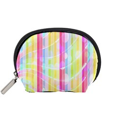 Colorful Abstract Stripes Circles And Waves Wallpaper Background Accessory Pouches (small)