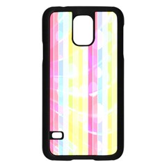 Colorful Abstract Stripes Circles And Waves Wallpaper Background Samsung Galaxy S5 Case (Black)