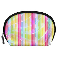 Colorful Abstract Stripes Circles And Waves Wallpaper Background Accessory Pouches (large)