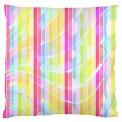Colorful Abstract Stripes Circles And Waves Wallpaper Background Large Flano Cushion Case (two Sides)