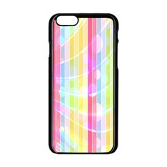 Colorful Abstract Stripes Circles And Waves Wallpaper Background Apple Iphone 6/6s Black Enamel Case