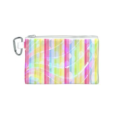 Colorful Abstract Stripes Circles And Waves Wallpaper Background Canvas Cosmetic Bag (S)