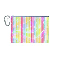 Colorful Abstract Stripes Circles And Waves Wallpaper Background Canvas Cosmetic Bag (M)