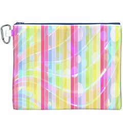 Colorful Abstract Stripes Circles And Waves Wallpaper Background Canvas Cosmetic Bag (xxxl)