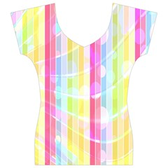 Colorful Abstract Stripes Circles And Waves Wallpaper Background Women s V-Neck Cap Sleeve Top
