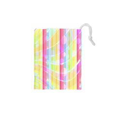 Colorful Abstract Stripes Circles And Waves Wallpaper Background Drawstring Pouches (xs)