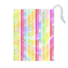 Colorful Abstract Stripes Circles And Waves Wallpaper Background Drawstring Pouches (extra Large)