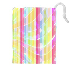 Colorful Abstract Stripes Circles And Waves Wallpaper Background Drawstring Pouches (xxl)