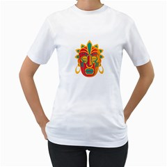 Mask Women s T-Shirt (White) (Two Sided)