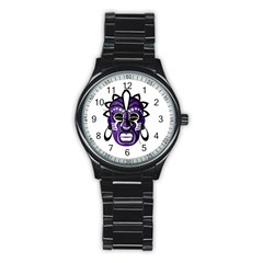 Mask Stainless Steel Round Watch