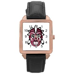 Mask Rose Gold Leather Watch