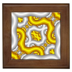 Fractal Background With Golden And Silver Pipes Framed Tiles
