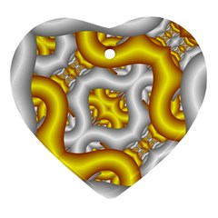 Fractal Background With Golden And Silver Pipes Ornament (heart)