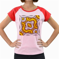 Fractal Background With Golden And Silver Pipes Women s Cap Sleeve T Shirt