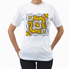 Fractal Background With Golden And Silver Pipes Women s T Shirt (white) (two Sided)