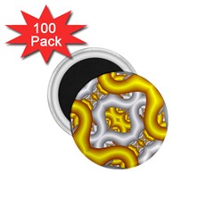 Fractal Background With Golden And Silver Pipes 1 75  Magnets (100 Pack)