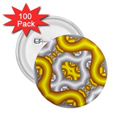 Fractal Background With Golden And Silver Pipes 2.25  Buttons (100 pack)
