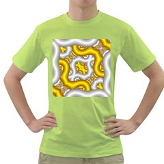 Fractal Background With Golden And Silver Pipes Green T Shirt