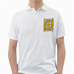 Fractal Background With Golden And Silver Pipes Golf Shirts