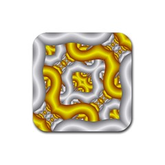 Fractal Background With Golden And Silver Pipes Rubber Coaster (square)