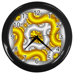 Fractal Background With Golden And Silver Pipes Wall Clocks (black)