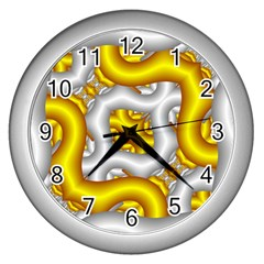 Fractal Background With Golden And Silver Pipes Wall Clocks (Silver)
