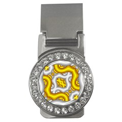 Fractal Background With Golden And Silver Pipes Money Clips (cz)