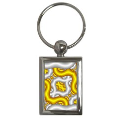 Fractal Background With Golden And Silver Pipes Key Chains (rectangle)