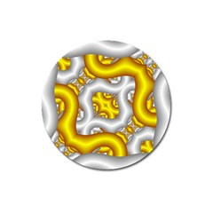 Fractal Background With Golden And Silver Pipes Magnet 3  (round)