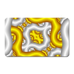 Fractal Background With Golden And Silver Pipes Magnet (rectangular)