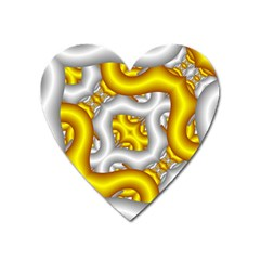 Fractal Background With Golden And Silver Pipes Heart Magnet