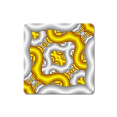 Fractal Background With Golden And Silver Pipes Square Magnet