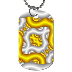 Fractal Background With Golden And Silver Pipes Dog Tag (one Side)