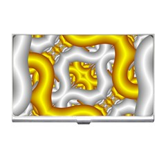 Fractal Background With Golden And Silver Pipes Business Card Holders