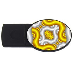 Fractal Background With Golden And Silver Pipes Usb Flash Drive Oval (2 Gb)