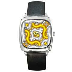 Fractal Background With Golden And Silver Pipes Square Metal Watch